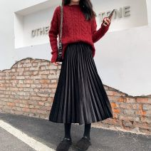 skirt Autumn 2020 S,M,L,XL Mid length dress commute High waist Pleated skirt Solid color Type A 18-24 years old 91% (inclusive) - 95% (inclusive) Other / other polyester fiber Korean version