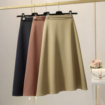 skirt Spring 2021 S,M,L,XL Ginger, khaki, black longuette commute High waist A-line skirt Solid color Type A 25-29 years old knitting polyester fiber zipper