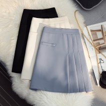 skirt Spring 2021 S,M,L Blue, white, black Short skirt Versatile High waist A-line skirt Solid color Type A 25-29 years old 51% (inclusive) - 70% (inclusive) other cotton Buttons, pockets, zippers