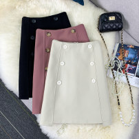 skirt Summer 2021 S,M,L,XL Black, apricot, pink Short skirt commute High waist skirt Solid color Type H 51% (inclusive) - 70% (inclusive) other other Button