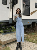 Dress Spring 2021 Light denim dress with straps S,M,L,XL,2XL longuette singleton  Sleeveless commute High waist other A-line skirt straps 18-24 years old Other / other Korean version