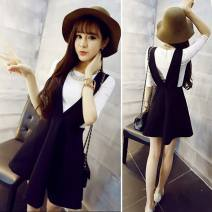 Dress Spring 2017 Black skirt + top, black skirt S,M,L,XL,2XL Short skirt Two piece set elbow sleeve commute V-neck High waist Solid color zipper A-line skirt other straps Type A Ruffles, straps, zippers YLQ#001w brocade other