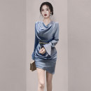 Dress Spring 2021 blue S M L Short skirt singleton  Long sleeves commute V-neck High waist Solid color Socket One pace skirt routine Others 25-29 years old Type X Mu yunsha lady zipper MYS7733 More than 95% polyester fiber Polyester 95% polyurethane elastic fiber (spandex) 5%