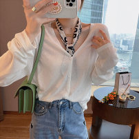 Wool knitwear Summer 2021 S M L XL White black blue pink Long sleeves singleton  Cardigan other More than 95% Regular Thin money commute easy V-neck Solid color Single breasted Korean version 18-24 years old L'uechunre Other 100% Pure e-commerce (online only)