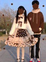 Dress Winter 2020 Khaki dress, off white women's coat, khaki sweater S. M, l, XL, one size fits all singleton  Long sleeves Sweet Doll Collar High waist Socket Princess Dress puff sleeve Others Type A Other / other Lolita