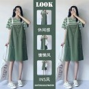 Women's large Summer 2021 Striped T-shirt strap dress striped T-shirt + strap dress suit Two piece set commute easy Short sleeve Solid color Korean version Crew neck cotton routine WEFWEFWEF Star Charm 18-24 years old pocket longuette Triacetate 70% Cotton 30% shorts