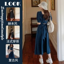 Women's large Summer 2021 Blue black singleton  commute Solid color Korean version V-neck polyester fiber routine 9106 in stock~ Star Charm 18-24 years old longuette Other 100% Same model in shopping mall (sold online and offline)