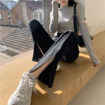 Jeans Spring 2021 Black (9%), black (trousers), black (lengthened), blue (9%), blue (trousers), blue (lengthened) XS,S,M,L,XL,2XL trousers High waist Flared trousers 18-24 years old Wash, zipper, button, multi pocket, other Cotton denim Dark color Apouren / Israel