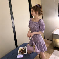 Dress Summer 2020 violet M L XL 2XL longuette singleton  Short sleeve commute square neck High waist lattice Socket A-line skirt puff sleeve Others 18-24 years old Type A Lyric and elegant Korean version 31% (inclusive) - 50% (inclusive) brocade cotton New polyester 65% cotton 35%