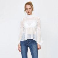 shirt Benbai S,M,L Spring 2021 polyester fiber 71% (inclusive) - 80% (inclusive) Long sleeves Original design Regular Half high collar Socket routine 25-29 years old High waist type Button