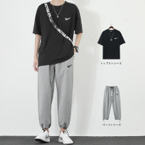 Leisure sports suit summer M L XL 2XL 3XL Dx00188 black + ck9988 light gray dx00188 white + ck9988 light gray dx00188 white + ck9988 black dx00188 black + ck9988 black dx00188 Yellow + ck999988 light gray dx00188 Yellow + ck9988 black Short sleeve Youyan trousers teenagers T-shirt CQ03065 cotton