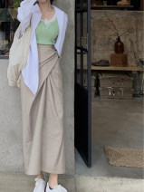 skirt Summer 2020 One size fits all , If the average size is not enough, contact the baby for refund Khaki reservation ( Only when the quantity is large can the goods be replenished ), Khaki (in stock) , Khaki (pre-sale 5) - 10 working days) longuette Versatile High waist Solid color Type H
