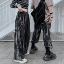 Casual pants Others Youth fashion black M,L,XL,2XL routine trousers Other leisure easy Four seasons teenagers tide 2021 Medium high waist Straight cylinder Sports pants lattice