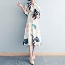 Dress Summer 2021 Medium length skirt singleton  three quarter sleeve commute V-neck Design and color High waist Single breasted A-line skirt Bat sleeve 81% (inclusive) - 90% (inclusive) polyester fiber Type A Azhai 5-17 Other / other Button Chiffon S,M,L,XL,2XL,3XL