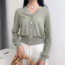 Wool knitwear Spring 2021 Size 2 / s, size 3 / m, size 4 / L, size 5 / XL Black, white, greyish green, pink Long sleeves singleton  Cardigan cotton 31% (inclusive) - 50% (inclusive) have cash less than that is registered in the accounts Thin money commute easy V-neck routine Solid color