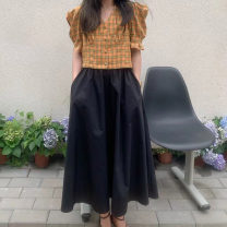 skirt Summer 2021 Mid length dress Natural waist 1117 More than 95% Sushi other Other 100% Average size Black white pink apricot
