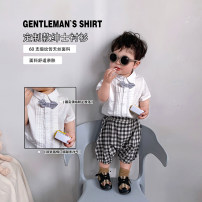 shirt white shirt A Xiaoxuan neutral Size 74, size 80, Size 90, size 100, Wu shoot more new products, pay attention to VX: a1xxyt summer Short sleeve leisure time other cotton Lapel crew neck Other 100% other