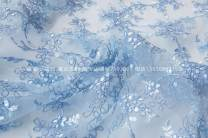 Fabric / fabric / handmade DIY fabric Netting Blue half meter Loose shear rice Plants and flowers jacquard weave clothing Europe and America Other / other