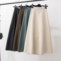 skirt Autumn 2020 S,M,L Off white, blue, brown, black Mid length dress street High waist A-line skirt Solid color Type A PU Europe and America