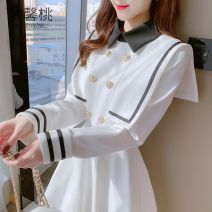Dress Winter 2020 White, black S,M,L,XL Short skirt singleton  Long sleeves commute Polo collar High waist Solid color double-breasted A-line skirt routine Others 18-24 years old Type A Other Korean version Button, zipper MXT15916 More than 95% other