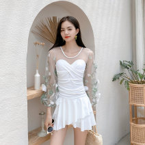 one piece  bunnybums M (for 85-95 kg), l (for 95-105 kg), XL (for 105-115 kg), XXL (for 115-130 kg) Grey flower mesh long sleeve skirt, white flower mesh long sleeve skirt, pink flower mesh long sleeve skirt Skirt one piece Steel strap breast pad spandex XGE20085 female Long sleeves Casual swimsuit