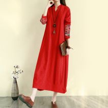 Dress Other / other Black, red, green M,L,XL,XXL Medium length stand collar Solid color Article No. 63716752540