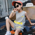suit Ant Xiaofei Blue orange grey 110cm 120cm 130cm 140cm 150cm 160cm male summer leisure time Sleeveless + pants 2 pieces Thin money There are models in the real shooting nothing Solid color cotton children Expression of love Class B Cotton 100% Summer 2020 Chinese Mainland Guangdong Province