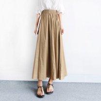 skirt Autumn 2020 S,M,L,XL,2XL,3XL Military green [collection gift], khaki [collection gift], black [collection gift] longuette High waist A-line skirt Solid color