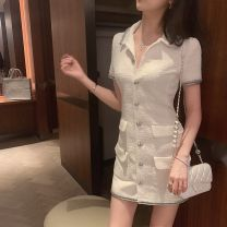 Dress Summer 2020 White (spot) Xs, s, m, l, collect and purchase first Short skirt singleton  Short sleeve commute Polo collar High waist Single breasted A-line skirt routine Others 25-29 years old Type A Retro
