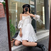 Dress Summer 2021 white S M L Short skirt Fake two pieces commute Solid color camisole 18-24 years old Type A Beautiful people in the North Korean version HFDFS3875 More than 95% other Other 100%