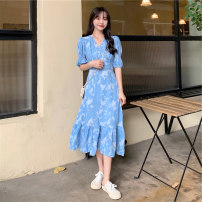 Dress Summer 2021 Yellow blue S M L longuette singleton  Short sleeve commute V-neck Ruffle Skirt 18-24 years old Beautiful people in the North Retro FEYH6927 More than 95% other Other 100% Pure e-commerce (online only)