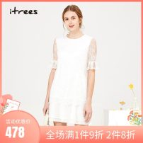 Dress Summer 2020 Benbai S M L Middle-skirt singleton  elbow sleeve Sweet Crew neck middle-waisted Socket Princess Dress routine 25-29 years old itrees Stitching, lace I19BL215 More than 95% other Other 100% princess