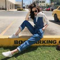 Casual pants Blue (nine points), blue (shorts) Recommended for s 85-105 kg, m 106-115 kg, l 116-125 kg and XL 126-140 kg Autumn of 2019 Ninth pants Jumpsuit High waist commute Thin money HZ819 Other / other Retro Collage