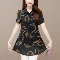Women's large Summer 2021 Red and black L XL XXL XXXL XXXXL XXXXXL T-shirt singleton  commute easy thin Socket Short sleeve Korean version Polo collar routine polyester Three dimensional cutting routine TYL 331540 Tongwanluo 35-39 years old 96% and above Polyester 100% Pure e-commerce (online only)
