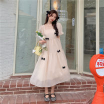Dress Summer 2021 Off white, pink S,M,L,XL singleton  Long sleeves commute square neck High waist lattice Socket A-line skirt routine Others 18-24 years old Type A Other / other 71% (inclusive) - 80% (inclusive) other nylon