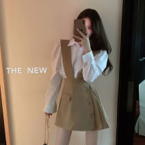 Fashion suit Spring 2021 S,M,L,XL White shirt [single piece], black strap skirt [single piece], khaki strap skirt [single piece], shirt + black strap skirt [two-piece set], shirt + Khaki strap skirt [two-piece set] 18-25 years old