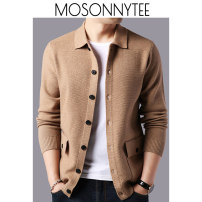 T-shirt / sweater Fashion City Red, gray, black, camel M,L,XL,2XL,3XL routine Cardigan Lapel Long sleeves autumn easy 2020 business affairs Business Casual Large size routine Solid color No iron treatment Fine wool (16 and 14 stitches) other
