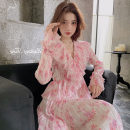 Dress Spring 2021 Cherry Blossom powder XS,S,M,L,XL longuette singleton  Long sleeves commute V-neck Elastic waist Decor Single breasted other routine 18-24 years old Type A Button 31% (inclusive) - 50% (inclusive) Chiffon polyester fiber