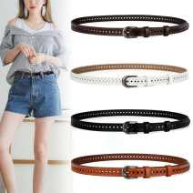 Belt / belt / chain Double skin leather Black coffee white red earth yellow black square buckle female belt Versatile Single loop Youth, middle age and old age Pin buckle Geometric pattern soft surface 1.7cm alloy Hollow thick line decoration Miaoman 20191212zpxk 100cm 105cm 110cm Winter of 2019 no