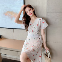 Dress Summer 2021 Picture color S,M,L,XL Middle-skirt singleton  Short sleeve commute V-neck pagoda sleeve 18-24 years old Korean version Print, lace up Chiffon