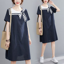 Dress Summer 2020 Picture color M【100 - 140 kg] , L【140 - 170 kg] longuette singleton  Short sleeve commute Admiral Loose waist Solid color Socket A-line skirt routine Others Type A Other / other Korean version Bowknot, stitching 31% (inclusive) - 50% (inclusive) other