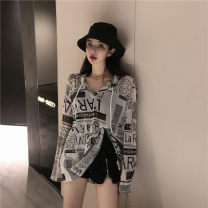 T-shirt Retro graffiti Average size Autumn of 2019 Long sleeves Hood easy routine commute other 71% (inclusive) - 85% (inclusive) 18-24 years old Korean version Other / other