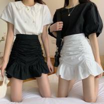 skirt Spring 2021 S,M,L D55-o-white, p49-k-black Short skirt commute High waist skirt Solid color Type A 18-24 years old D32508 30% and below Other / other other fold Korean version