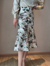 skirt Spring 2021 S,M,L,XL,2XL Decor Mid length dress commute High waist A-line skirt Broken flowers Type A 25-29 years old 91% (inclusive) - 95% (inclusive) Silk and satin Cellulose acetate Korean version