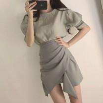 skirt Summer 2021 S, M Green shirt, white shirt, black skirt, grey blue skirt Short skirt commute High waist Irregular Solid color 71% (inclusive) - 80% (inclusive) other cotton