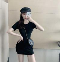 Dress Summer of 2019 Gray, black Average size Short sleeve High collar Socket
