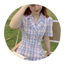 Square Dance Dress S,M,L,XL Purple lattice (priority for collection store) Other / other Short sleeve lattice Middle-skirt female