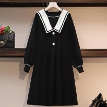 Women's large Winter of 2019 Red, Navy, black Large size L [90-115 Jin recommended], large XL [115-135 Jin recommended], large 2XL [135-155 Jin recommended], large 3XL [155-175 Jin recommended], large 4XL [175-200 Jin recommended] Dress singleton  commute easy thick Socket Long sleeves Solid color