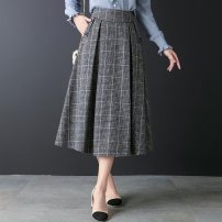 skirt Winter 2020 27/M,28/L,29/XL,30/2XL,31/3XL,32/4XL lattice longuette Versatile High waist Umbrella skirt lattice Type A 20C#686 Wool polyester fiber pocket