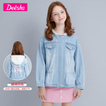 Plain coat Deesha / Desha female 120cm 130cm 140cm 150cm 160cm 165cm Denim spring and autumn leisure time Zipper shirt There are models in the real shooting routine nothing other other Cotton 100% Class C Spring 2021